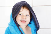 Portrait of lovely little toddler boy of two years  with bath to — Stock Photo