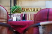 Detail of outdoor cafe in the city — Stock Photo