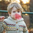 Portrait of beautiful little boy of 2 with big candy, outdoors — Stock Photo #44698323