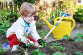 Adorable blond boy planting seeds and seedlings of tomatoes — Foto de Stock