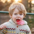 Portrait of beautiful little boy of 2 with big candy, outdoors — Stock Photo #46979067