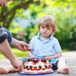 Little boy celebrating his birthday in home's garden with big ca — Stock Photo #48272855