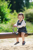 Little cute baby girl having fun in park, summer — Stock Photo