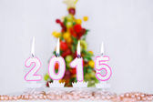 Burning candles with 2015 year and with fruit tree on background — Foto de Stock