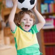 Cute boy fan having fun and happiness for football game — Stock Photo