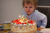 Toddler child blowing candles on his 2 birthday cake — Stock Photo