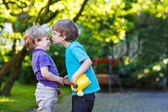 Two little sibling boys hugging and having fun outdoors — Stock Photo