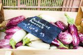 Fresh eggplants, aubergine vegetables on street market in Proven — Stock Photo