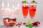 Two glasses with red champagne and candles 2015 — Foto Stock