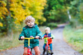 Two active brother boys driving on bikes in autumn forest — Stock Photo