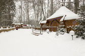 Snow-covered house in beautiful winter forest — Stock Photo
