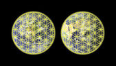 Flower of life on western and eastern hemisphere of Earth — Stock Photo