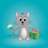 Funny cartoon cat with flowers and gifts — Stock Photo