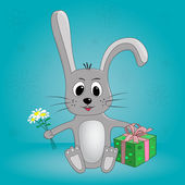 Funny cartoon rabbit with flowers and gifts in vector — Stock Vector