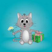 Funny cartoon cat with flowers and gifts in vector — Stock Vector