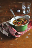 Stewed Cabbage with Lentil and Sausages — Stock Photo