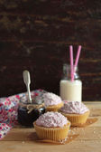 Black currant cupcakes with coconut frosting — Stock Photo