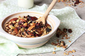 Homemade granola with dried fruits, nuts and seeds — Stock Photo