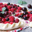 Puff pastry pie with fresh berries — Stock Photo