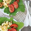 Fresh salad with tomatoes and cheese on plate — Stockfoto