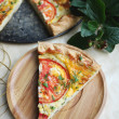 Puff pastry pie with curd cheese, tomatoes, cheese and herbs — Stock Photo