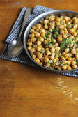 Chickpea stew with bacon, leek and chopped fresh dill — Stock Photo