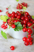 Red currant berries with green leaves — Stock Photo