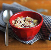 Healthy homemade granola or muesli with oats — Stock Photo