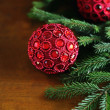 Traditional christmas or new year magic red balls — Stock Photo