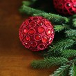 Traditional christmas or new year magic red balls — Stock Photo #31642585