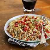 Portion of couscous salad with chickpea — Stock Photo