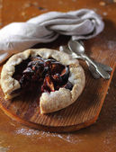 Fruit pie or galette with figs and raspberry — Stock Photo