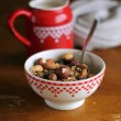Breakfast with healthy homemade organic granola or muesli  — Stock Photo