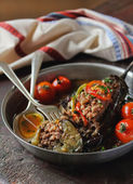 Eggplant stuffed with meat — Stock Photo