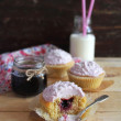 Valentines day cupcakes with berry jam, cream cheese icing and coconut — Stock Photo #36574135