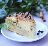 Piece of cinnamon and chocolate chips coffee cake or pie on a dessert plate — Stock Photo