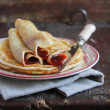 Wheat pancakes with homemade strawberry jam perfect for traditional pancake holiday — Stock Photo