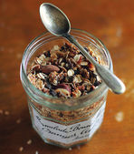 Healthy homemade granola or muesli with dried fruits and almonds — Stock Photo
