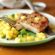 Roasted pork cutlet with pineapple and mint salsa — Stock Photo