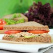 Summer picnic snack sandwich with toasted rye bread, juicy tomatoes, ripe cucumbers and canned tuna fish on a wooden table outdoors — Stock Photo