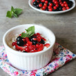 Healthy homemade crumbled cottage cheese with sour cream, honey, vanilla, fresh red and black currants, strawberry and mint leaves in a bowl for breakfast — Stock Photo #45231765
