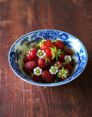 Chopped fresh ripe juicy strawberry for dessert berry salad, selective focus — Stock Photo