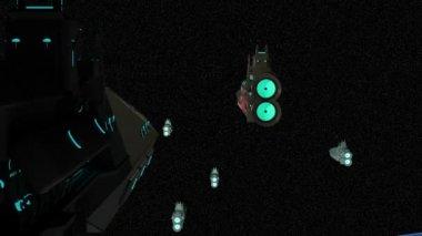 Space fleet in orbit — Stock Video