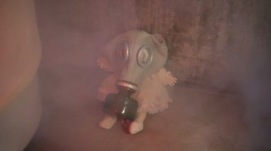 Doll with a gas mask — Stock Video