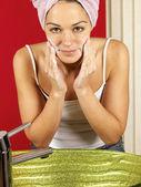 Young Woman Washing Face — Stock Photo