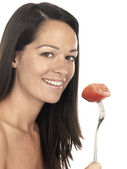 Young Woman Holding Beef Tomato — Stock Photo