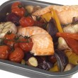 Stock Photo: Roast Salmon with Vegetables