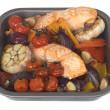 Roast Salmon with Vegetables — Stock Photo