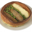 Sausage and Mash with Yorkshire Pudding - Stock Photo