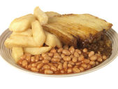 Cottage Pie with Chips and Beans — Stock Photo
